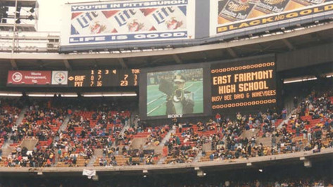 Busy Bee Band on scoreboard at Three Rivers Stadium