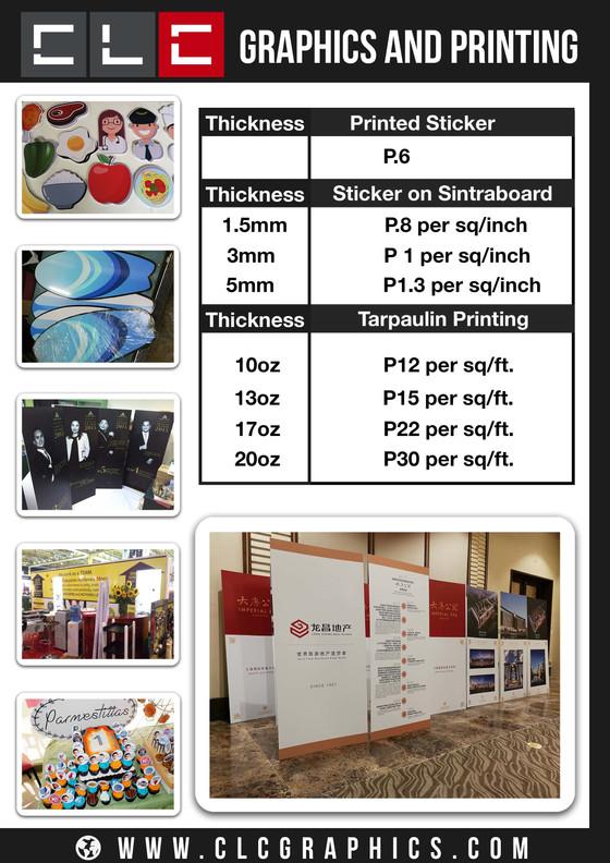 2018 Large Format Printing Rates
