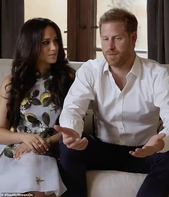 'Dominant' Harry looks polished in Spotify video while 'demure' Meghan 'gazes adoringly' at him