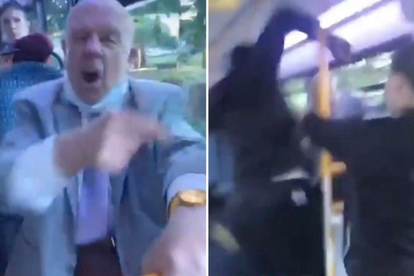 Moment Racist pensioner gets beaten up on London bus after calling black passengers 'monkeys'