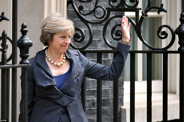 New British Prime Minister, Theresa May In Front Of No 10 DOWNING Street Her New Home From Tomorrow