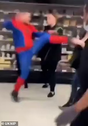 Thug Dressed As Spiderman Kicks Female Asda Worker In The Face