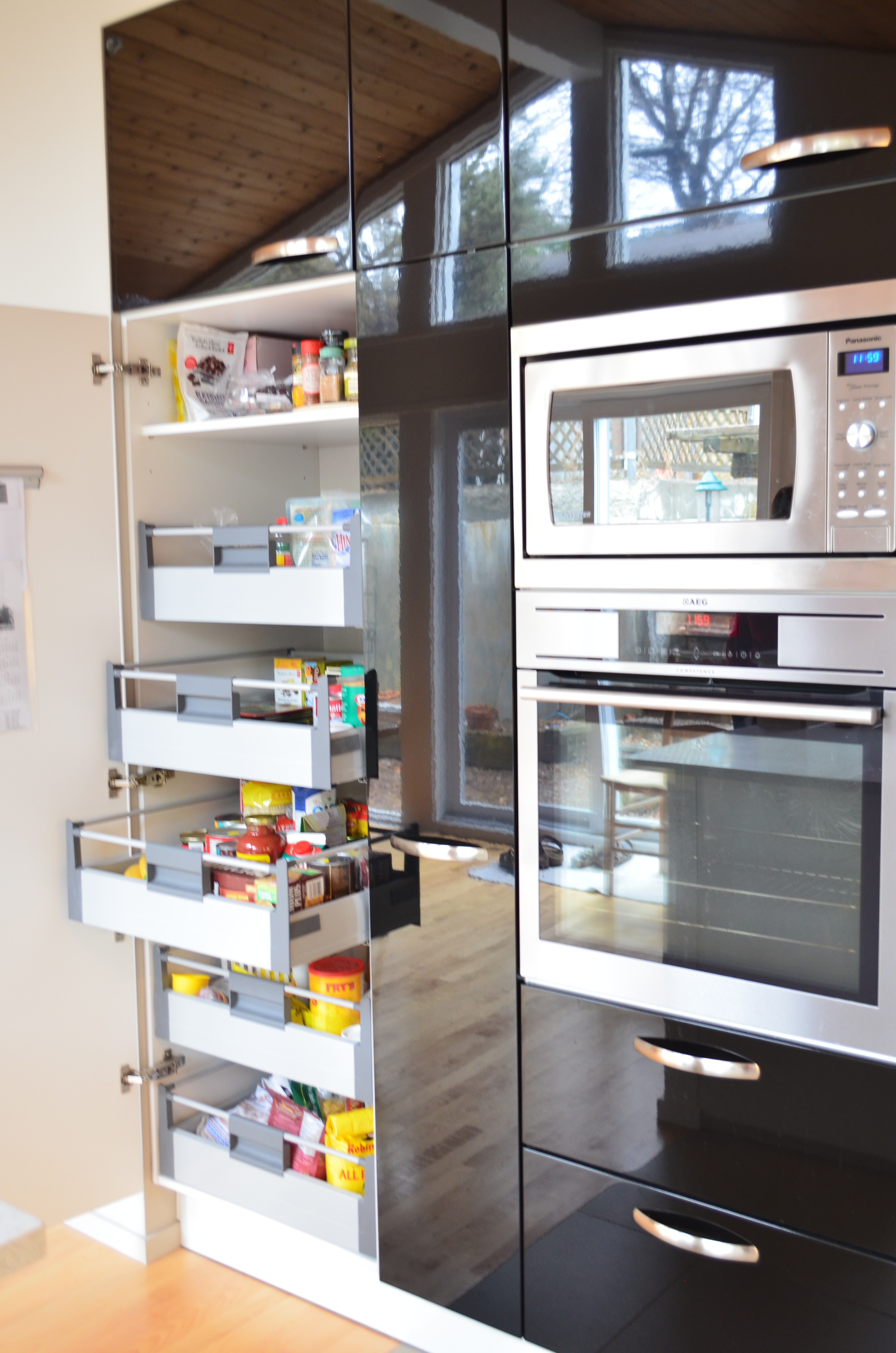 Pantry pull-outs behind door