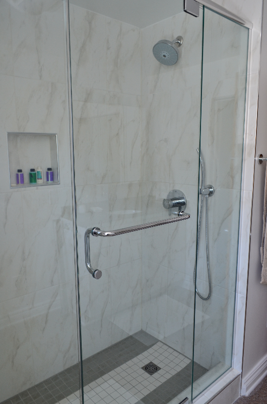 Custom glass shower enclosure, niche