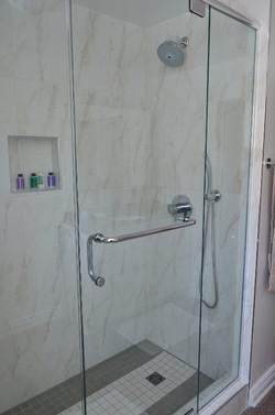 Custom glass shower enclosure, niche
