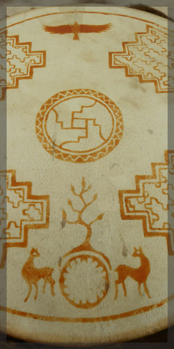 Handdrum with henna painted pattern