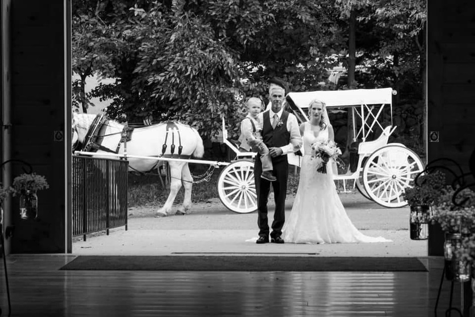 The Bride's Grand Entrance with her Father and Toddler Son