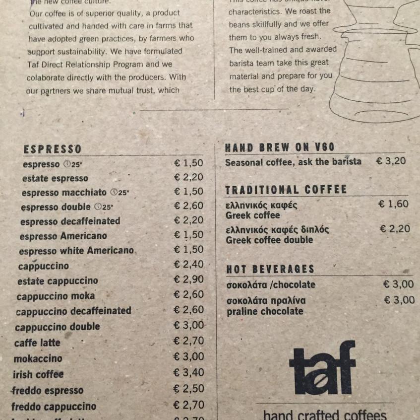 Menu Taf Cafe
