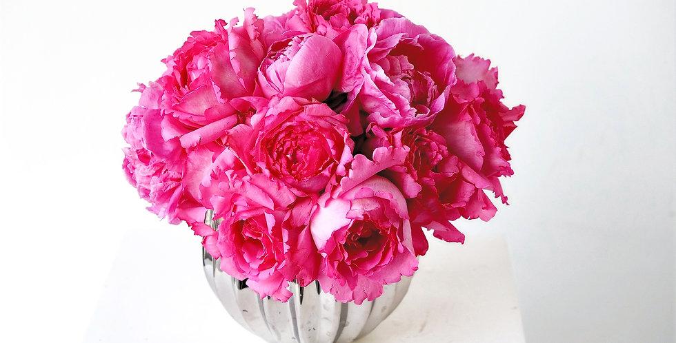Pink Peonies & Garden Roses Centerpiece