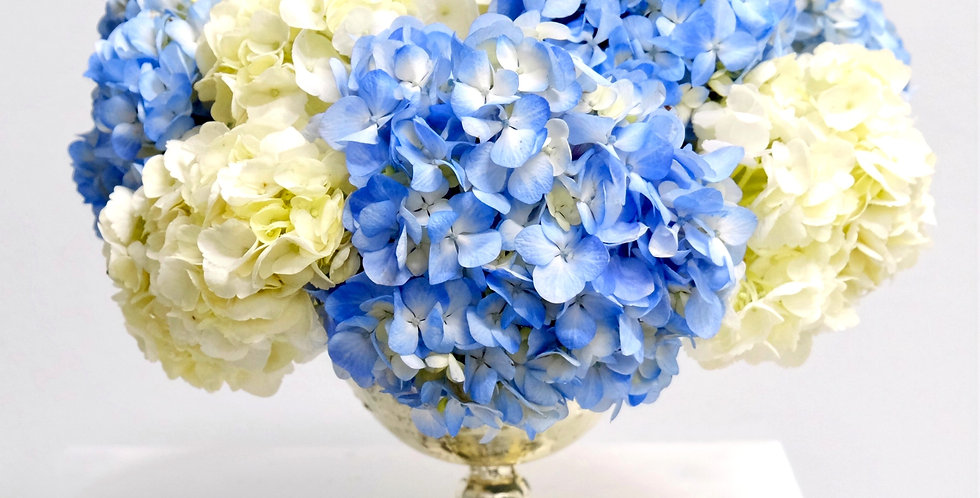 Blue & White Hydrangea Baby Shower Centerpiece