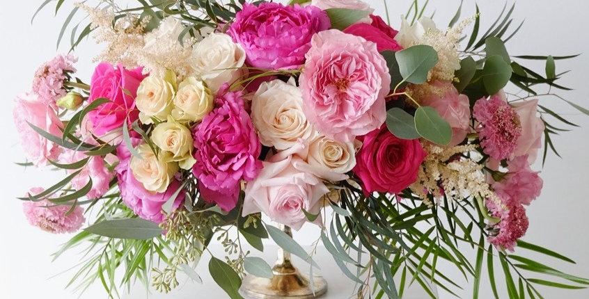 Pink & White Garden Centerpiece