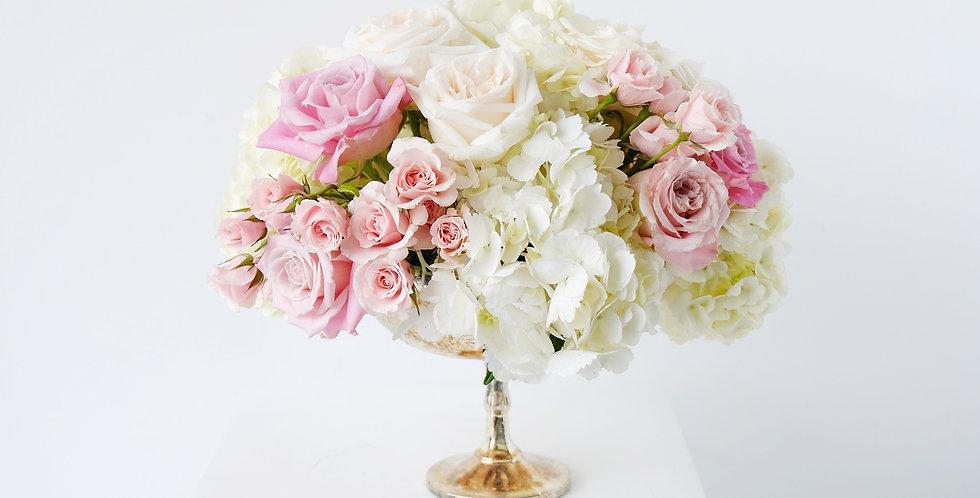 Blush & Ivory Hydrangea Centerpiece