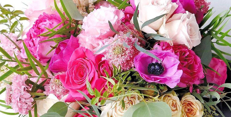 Hot Pink Garden Bridal Bouquet