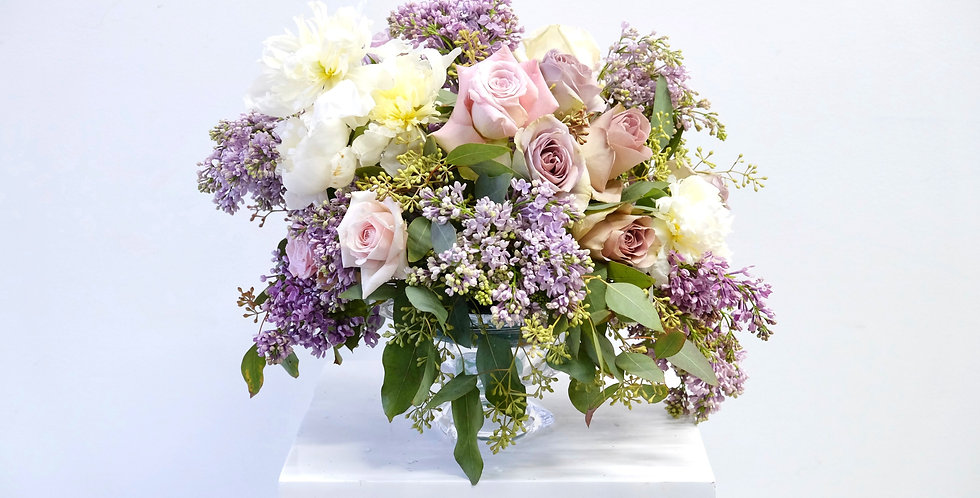 Lilac & Blush Spring Centerpiece