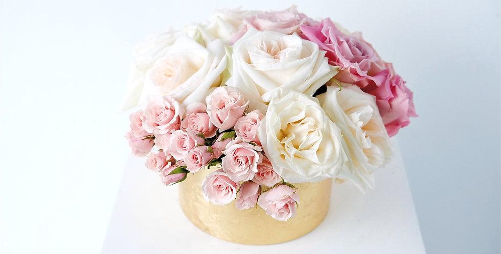 Blush & Ivory Rose Centerpiece