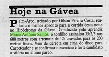 Novo destaque nos treinos em coluna especializada em turfe do Jornal do Brasil.