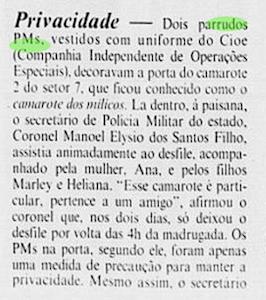 Dono do primeiro Stud carioca montado por M.A.Santos, coronel Manoel Elysio aproveitava o Carnaval de 1991...