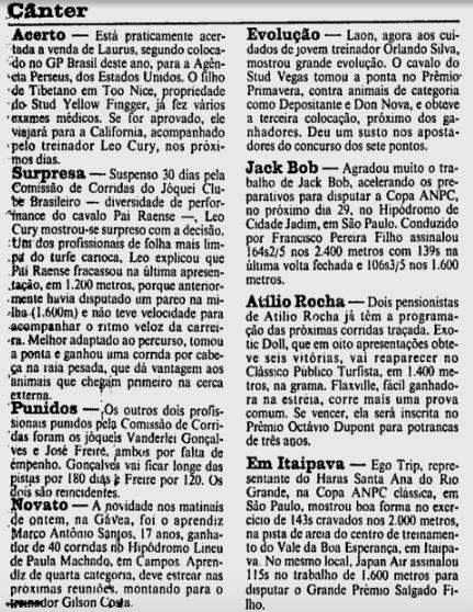 Destaque em coluna do Jornal do Brasil já na chegada ao Rio de Janeiro.
