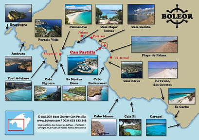 Boat Charter Can Pastilla | boleor.com | rent a boat with or without licence | Pama Bay