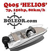 boleor.com Q605 'Helios': speedboat 7 people, 150hp, 80 km/h. Wakeboard, skis, 'donut' buoy… From 190€