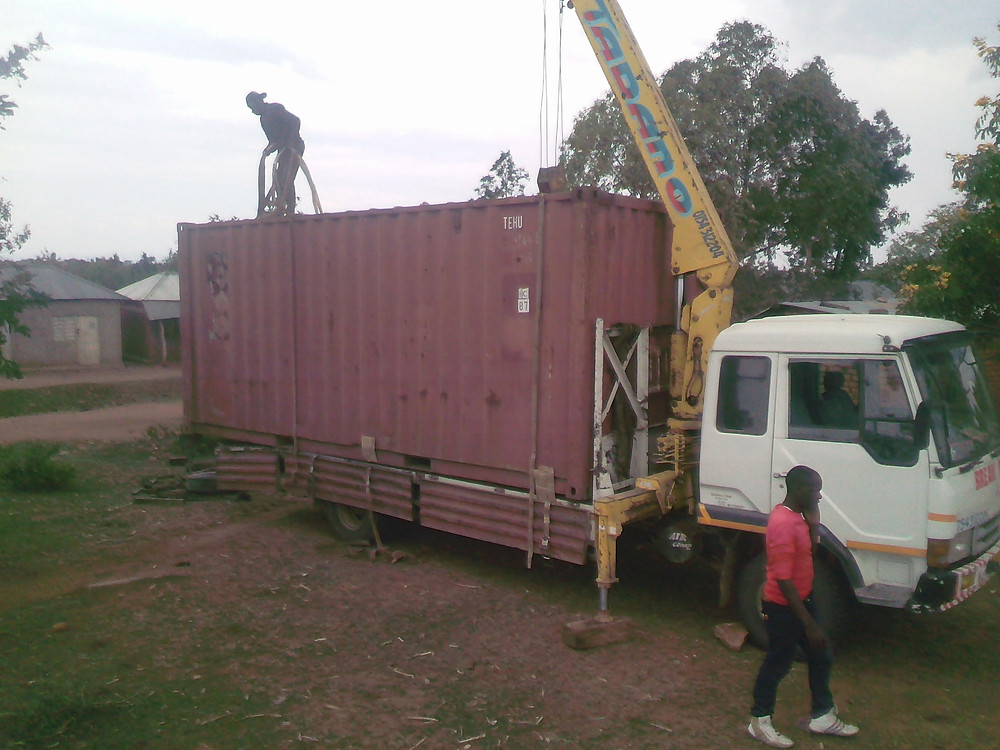 The steel container being delivered to Mbirikili