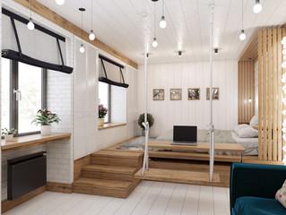 Концепция спальни-гостиной в небольшом доме