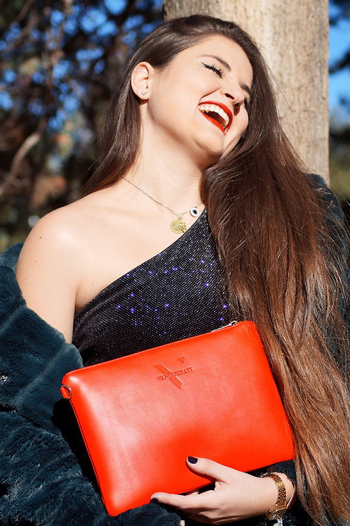 ·CLASSIC RED-GOLD· LEATHER HANDBAG