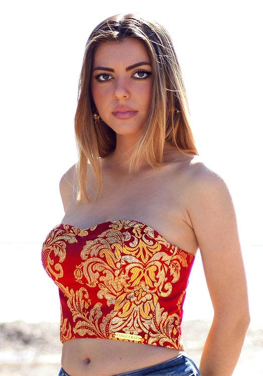 TOP CORSET DE TELA DE FALLERA de alta costura •VALENCIA MAR DE ORO•