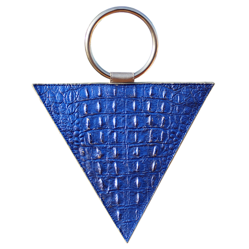 TRIANGULAR 'V' BAG WITH HANDLE OF ENGRAVED LEATHER ·METALLIC BLUE·