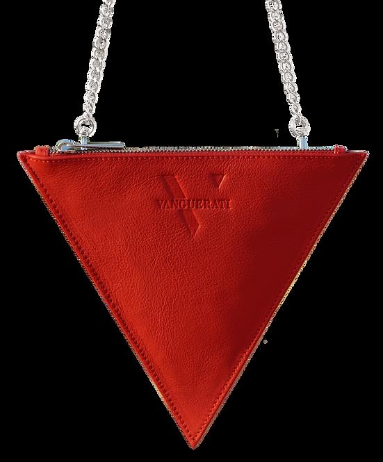 TRIANGULAR 'V' BAG OF GRANULAR LEATHER ·BURGUNDY RED·