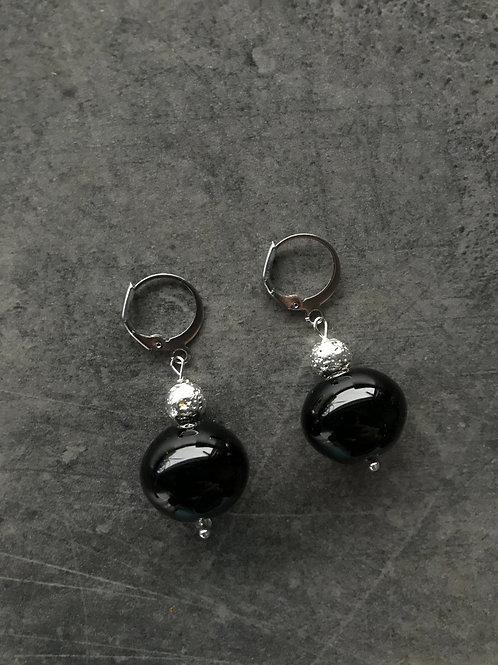 Серьги с муранским стеклом и лавой черные
