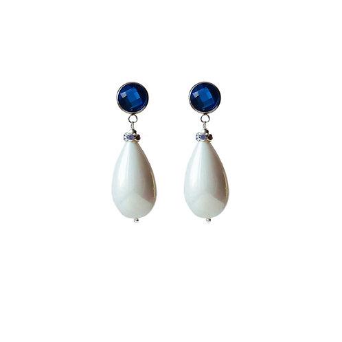 Серьги с крупной жемчужной каплей и синим кристаллом