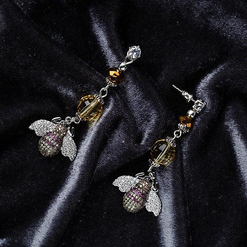 Серьги «Пчелки» с цитрином и цирконами