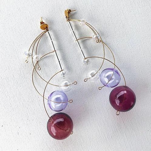 Серьги-сферы «Universe» в фиолетовом цвете