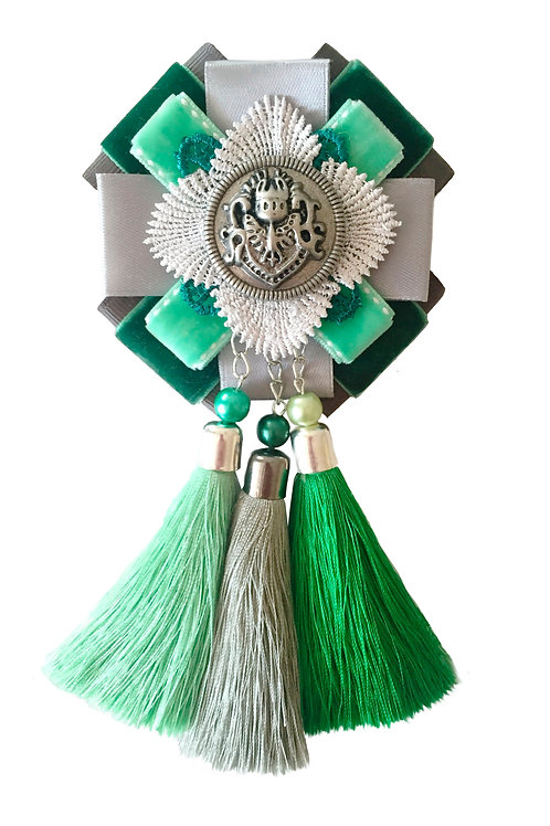Брошь-эполет с кисточками Зеленый цвет