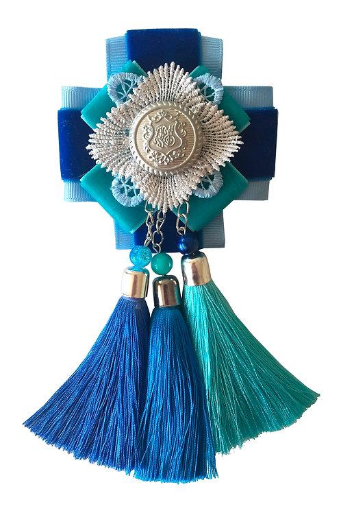 Брошь-эполет с кисточками Синий цвет