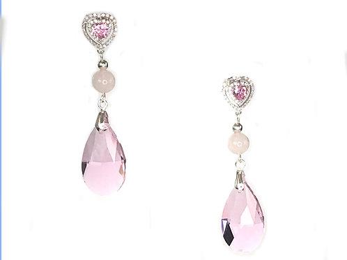 Серьги «Розовая капля» с цирконами и розовым кварцем