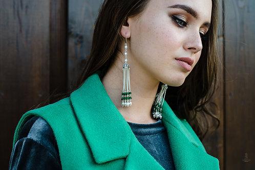 Серьги-короны с кристаллами Зеленые