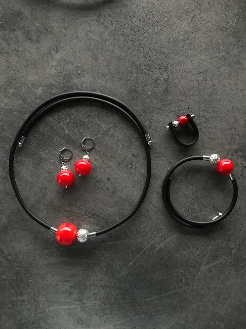 Комплект с муранским стеклом и лавой красный