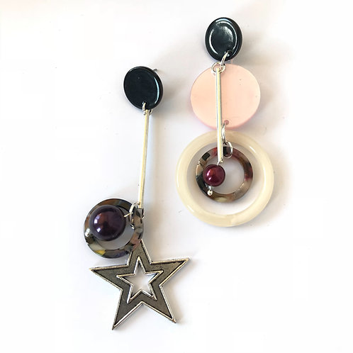 Серьги асимметричные со звездой