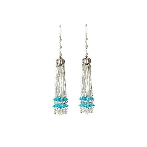 Серьги-короны с кристаллами Голубые