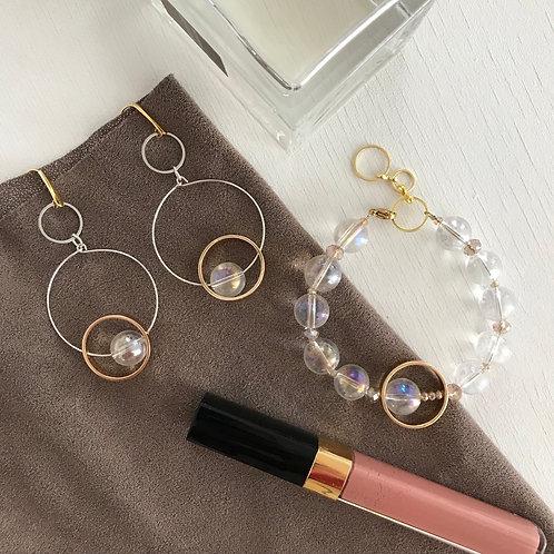 Комплект украшений с радужным кварцем (браслет+серьги)