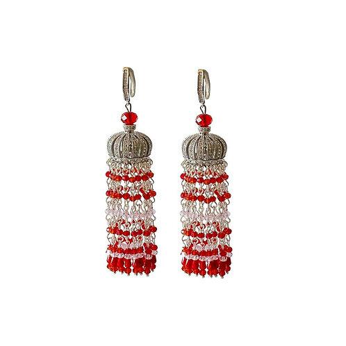 Серьги-люстры с кристаллами Красные