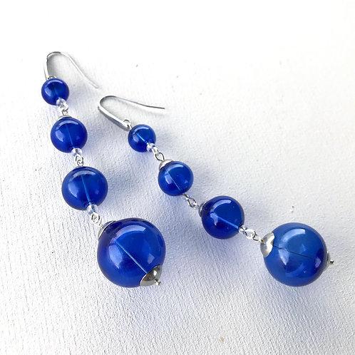 Серьги-сферы из муранского стекла синие
