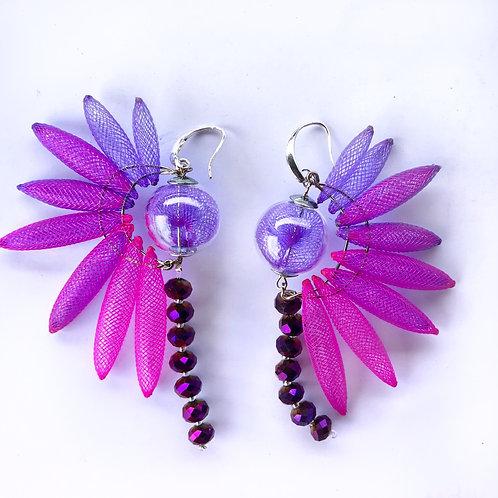Серьги «Крылья райской птички» лиловый цвет