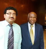Dr Debjyoti Dutta with Dr Laxmaiah Manchikanti