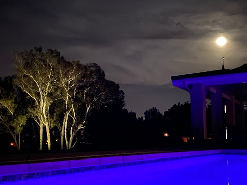 The Reanch House Pool at Night