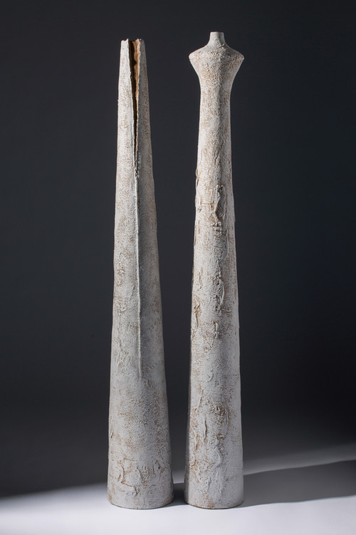 NARROW VESSELS III & VI, 2012, stoneware and slip, 38 - 40 in H