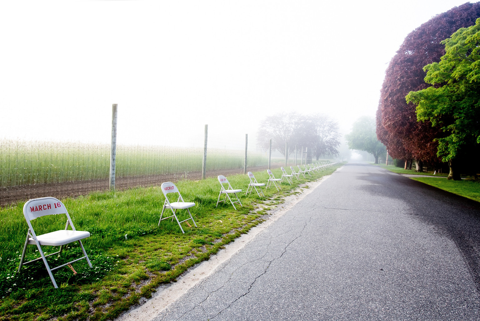 """""""When,"""" 2020, Toni Ross and Sara Salaway, site-specific, public art installation, 65 hand-stenciled folding chairs placed at 6' intervals in Wainscott, NY; 450 feet long. On view May 9 - June 28; Philippe Cheng Photography"""
