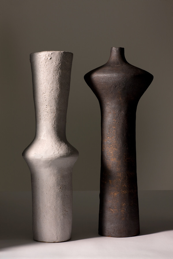 UNTITLED (1055) & UNTITLED (1047), 2011, stoneware and slip, 20 3/4 - 21 3/4 in H